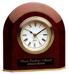 Piano Finish Rosewood Beveled Arch Clock Desk Clocks