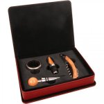 Leatherette 4 Piece Wine Tool Set -Rose' Wine Collection